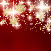 Festive red Christmas background with golden stars. — Stock Vector