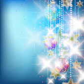 Kleurrijke blauwe kerstballen decoratie. — Stockvector