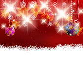 Christmas decoration on blur red — Stockvector