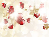 Shiny hearts bokeh light Valentine's day. EPS 10 — Stockvector
