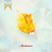 Autumnal leaf background made of triangles. — Stock Vector