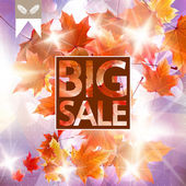Card with maple leaves, autumn sale. — Stock Vector