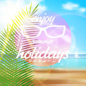 Seaside view poster with Sun glasses. — Stockvektor