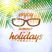 Ciel d'été avec soleil, lunettes de soleil. — Vecteur