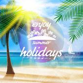 Summer typography holidays template. — Vector de stock