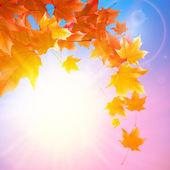 Delicate autumn sun with glare on blue sky. — Stock Vector