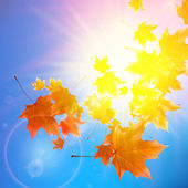 Delicate autumn sun with glare on blue sky. — Stock Vector