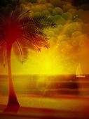 Zonsondergang op het strand van zee. — Stockvector