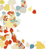 Autumn leaves falling and spinning on white. — Stock Vector