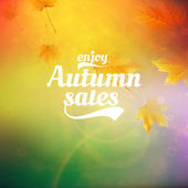 Autumn sale realistic Leaves typography poster. — Stock vektor