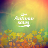 Autumn sale realistic Leaves typography poster. — Vettoriale Stock