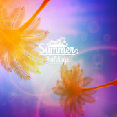 Palm Tree Sunset typography poster. — Stock Vector