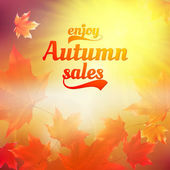 Autumn sale realistic Leaves typography poster. — ストックベクタ