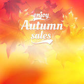 Autumn sale realistic Leaves typography poster. — Stock Vector