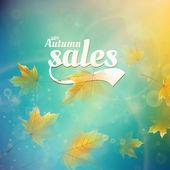 Herbst Verkauf realistisch Blätter Typografie poster. — Stockvektor