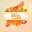 Autumn sale poster with leaves on a old paper — Stock Vector #51021937