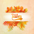 Autumn sale poster with leaves on a old paper — Stock Vector