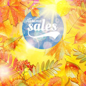 Herbst verkauf fallen gelbe blätter natur hintergrund. — Stockvektor
