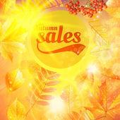 Venda outono outono folhas amarelas fundo de natureza. — Vetorial Stock