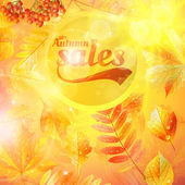 Autumn sale fall yellow leaves nature background. — Wektor stockowy
