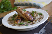 Sausages with lentils — Stock Photo