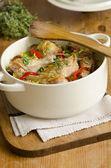 Chicken and chorizo rice-pot — Stock Photo