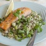 Salmon with salad — Stock Photo #44987539