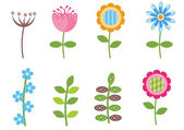 Retro flowers isolated — Stock Vector