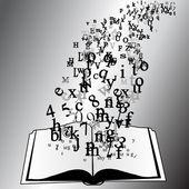 открытые книги с летающие буквы — Cтоковый вектор