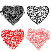 Black and red heart with hearts and the words I love you — Stock Vector