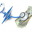 Pulse Stethoscope and Money — Stock Photo