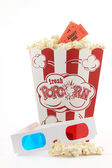 Popcorn with 3D Glasses — Stock Photo