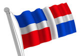 Dominica Rebublic Flag On Pole — Stock Photo