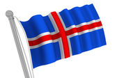 Iceland Flag On Pole — Stock Photo