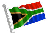 South Africa Flag on Pole — Stock Photo