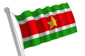 Suriname Flag on Pole — Stock Photo