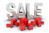 Silver Sale and Presents — Stock Photo