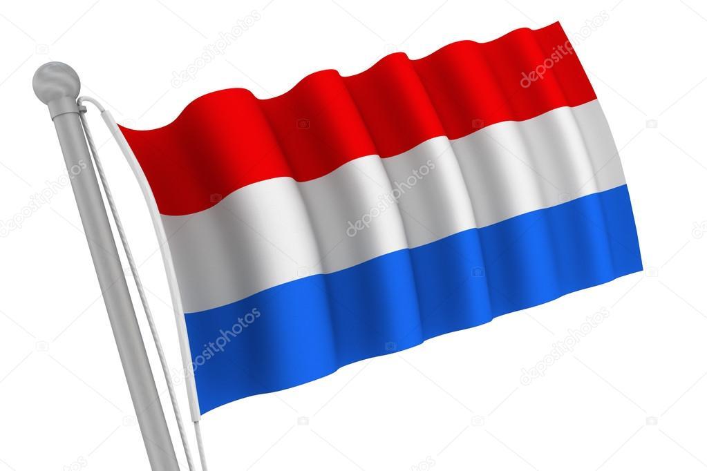 Netherlands Flag Waving Netherlands Flag on Pole