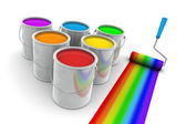 Rainbow Colors Paint and Roller Brush — Stock Photo