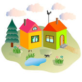 Rural lodges, summer, clouds and the cat walking in the yard — Stock Vector