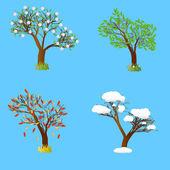 Four seasons tree. — Stock Vector