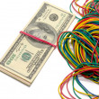 Stock Photo: Dollars and elastic bands