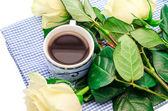 Coffee with flowers — Stockfoto