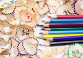 Color pencils with wood — Stockfoto