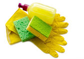 Working gloves and sponge — Стоковое фото