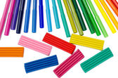 Color felt-tip pens and plasticine isolated — ストック写真