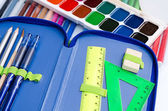 Case, paints and felt-tip pens for the school student — Stock Photo