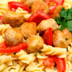Macaroni with meatballs and tomatoes — Stock Photo #50120143