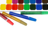 Paints and color glue for children — Stock Photo