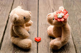 Toys two bears in love — Stock Photo